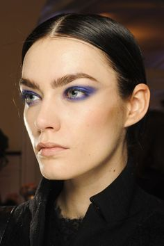 The New Smoky Eye: Autumn/Winter 2013 Beauty Trend  / At Jason Wu, the smoky eyes came in a bluish purple - blended by Diane Kendal using Lancôme pigments and applied in an extended, feline shape.