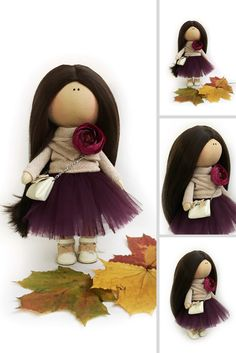 Fall Doll Baby Room Nursery Doll Fabric Tilda Textile Doll Collection Art Doll Unique Purple Soft Doll Cloth Rag Doll Muñecas by Natalia P  This is handmade cloth doll created by Master Natalia P (Moscow, Russia).  Doll is 30 cm (11.4 inch) tall and made of only quality materials. Doll can be a great present for your children, family members, colleages or friends.  Style of doll easily helps to use such doll as home decoration and interior design.