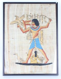 """Lot 71 in the 3.17.15 online & live auction! This is a rendition of a hieroglyph from The Tomb Of Nebamun in Egypt. It is done on papyrus, and features an Egyptian Hero, """"Kagemni"""" on a reed boat, sailing with a servant and herons. It could symbolize him passing over into the land of the dead, as it has other symbols on its background such as, """"Amenta"""", """"Horas"""" and other prolific items. #Decor #POGAuctions #Art"""