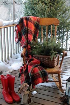 Winter plaids with greenery...red hunters on the front porch