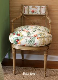 Love the wide boxing on this down cushion; Florida bedroom Louis XVI style chair design by Betsy Speert