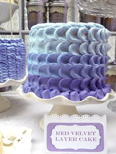 Shabby Chic wedding dessert table in purple by Oh, Sugar! Events http://ohsugareventplanning.blogspot.com/2012/04/shabby-chic-wedding-in-purple.html