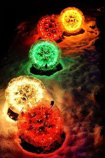 Sparkle Balls ~ we had one of these when I was in college (I think a distant cousin made it for me) and it was so awesome, someone STOLE it off our front porch. By next Christmas, I will have another. Outdoor Christmas, Winter Christmas, Christmas Lights, Christmas Holidays, Christmas Decorations, Xmas, Christmas Ornaments, Diy Ornaments, Green Christmas