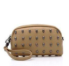 2016 high quality designer handbag girls punk black street stylerestore rivet skull PU leather handbag shoulder bag clutch purse