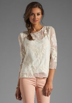 DOLCE VITA Deidra Victorian Embroidery Blouse in White at Revolve Clothing