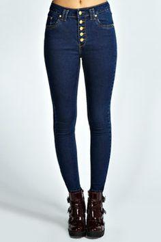 Aimee High Waisted Skinny Jeans at boohoo.com
