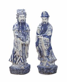 Two Chinese large blue and white pottery figures of immortals