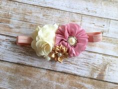 Dusty Pink Baby Headband/Dusty Pink Headband/Dusty Rose Baby Headband/Dusty Pink & Ivory/Dusty Rose Newborn Headband/Newborn Photo Prop by JuliaGraceDesigns1 on Etsy