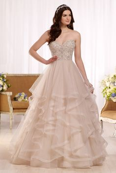 Blush pink princess cut wedding gown. Ideal for the apple shaped body type.