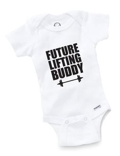 Future Lifting Buddy Onesie Bodysuit Baby Shower Gift Funny Boy Girl Family Weight Training Trainer Lifter