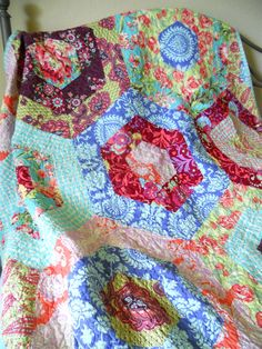 Twin/Full Size Quilt  Amy Butler Hexagons by MusicCitySewing, $365.00