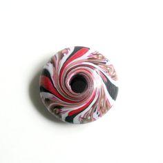 Polymer Clay Handmade Big Swirl Bead With Large Hole - Black Bronze Pink White Fuchsia - 48 mm - Donut di archidee su Etsy