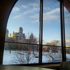 A shot of the Hall of Languages from the warmth of the Schine Student Center - Instagram photo by @j_magnolia