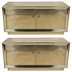 Pair Brass Low Cabinets | 1stdibs.com
