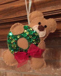 Handmade Teddy Bear Ornament by BEAUXTAILS on Etsy