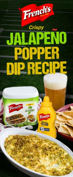 French's Jalapeno Popper Dip recipe is a real game changer! Only 5 minutes to prep, and done in 20. This is a football party appetizer you'll want to try. Jalapeno Dip, Jalapeno Poppers, Dip Recipes, Paleo Recipes, Cooking Recipes, Sauce Recipes, Casserole Recipes, Delicious Recipes, Easy Recipes