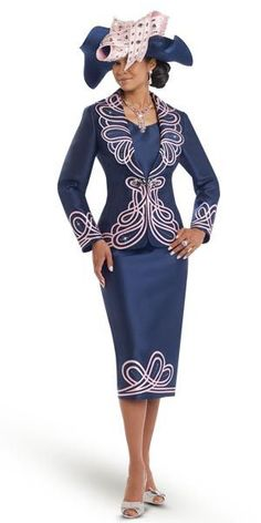 da63dc3c5ce2 Donna Vinci 11541 Womens Skirt Suit With Elaborate Embroidery Church Suits  And Hats