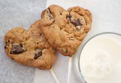 heart choc chip cookies on a stick
