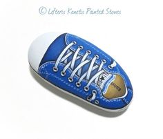 Painted Stone Blue All Star Shoe  Is Painted with by RockArtAttack