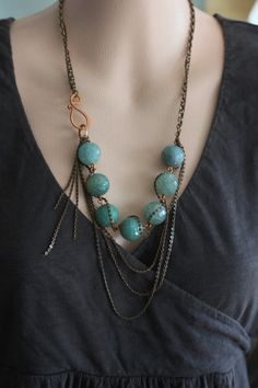 Bib Statement Necklace Blue Agate Stones -  Multiple Chains - Statement Jewelry. $46.00, via Etsy.