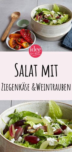 Salat mit Ziegenkäse & Weintrauben Tastes great as a side dish or as a main course: fresh salad with goat cheese and grapes. Easy Salad Recipes, Healthy Recipes, Lacto Vegetarian Diet, Main Dishes, Side Dishes, Shish Kebab, Grilling Sides, Lamb Curry, Foods High In Iron