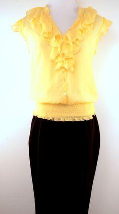 BCX Yellow Ruffle Blouse Size S
