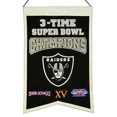 """This 14"""" x 22"""" beautifully embroidered banner commemorates the Oakland Raiders three Super Bowl championships."""