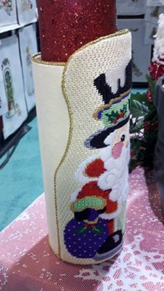 Finished Product - Christmas Santa column wrap