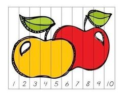 Each version has colored puzzle and b & w sheet with traceable numbers - Johnny Appleseed day September Activities, Autumn Activities, Preschool Activities, Preschool Apple Theme, Preschool Kindergarten, Apple Unit, Color Puzzle, Kindergarten Rocks, Math Work