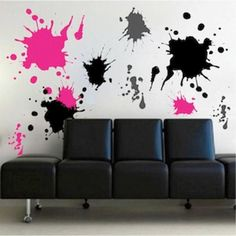 """Ink Splash Wall Decals (Product ID: d21)  MULTIPLE COLOR ARRANGEMENTS: To get multiple color arrangements as shown in the product photos, select a color, click """"Add to Cart,"""" and then click """"Keep Shopping"""" on the check out page, then click on the same product. Repeat this until you have in your cart the desired number of orders and colors. PRODUCT SIZES: 24x12 sheet includes 4-12 splashes 36x18 sheet includes 6-18 splashes 48x24 sheet includes 8-24 splashes  Please note: The plain, black and…"""