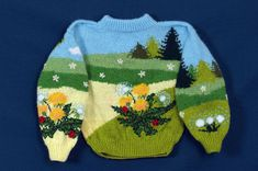 [Image description: A photograph of a brightly coloured knitted sweater on a dark blue background. Cool Sweaters, Ugly Sweater, Bambi, Pretty Outfits, Cool Outfits, Mein Style, Look Cool, Sweater Weather, Baby Knitting