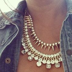 "A crystal statement necklace adds a dash of pretty sparkle to this casual denim shirt.--pinned on ""How to Wear Statement Necklaces"" board by BaubleBabe Jewelry."