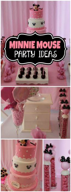 How gorgeous is this pink and black Minnie Mouse party? See more party ideas at CatchMyParty.com!