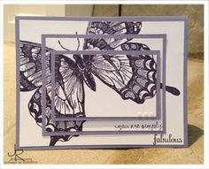 Triple time technique card using the Stampin' Up! Swallowtail stamp.  By Stamping With Jill