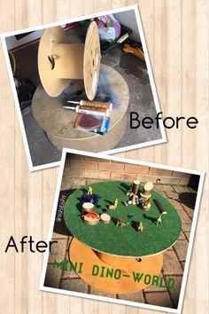 My latest DIY project. Reel to small world play surface Outdoor Learning Spaces, Outdoor Play Areas, Cable Reel, Cable Drum, Cool Playgrounds, Activities For Kids, Crafts For Kids, Music Garden, Early Years Classroom