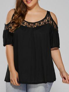 $11.97 - Plus Size Lace Insert Cut Out T-Shirt