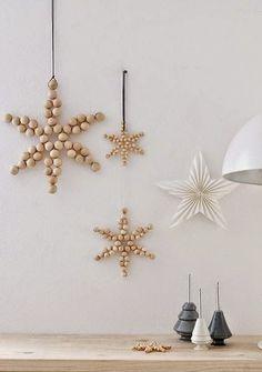 DIY wooden bead snowflakes