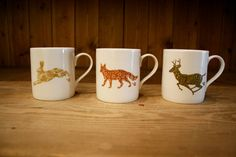 Set of 3 mugs with english countryside animal designs - Hare, Fox and Stag. £20.00, via Etsy.