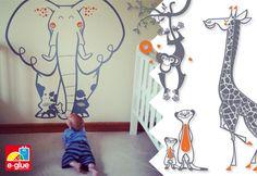 Vinilos para cuartos bebés y habitaciones infantiles tema safari, selva, jungla por E-Glue - http://www.e-glue.fr/es/21-vinilos-infantiles-kits-vinilos