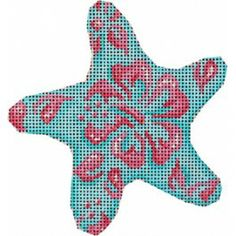 Pink/Aqua Hibiscus Starfish Ornament
