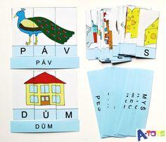 sada 64 zalaminovaných kartiček (16 x slovo + obrázek ze tří částí-písmen) pro výuku a zábavné procvičování písmenek. Ideální pro všechny, kdo se začínají učit písmenka a skládání slov jak klasickou, tak i genetickou metodou. Především prvňáčci budou potřebovat ... Calendar, Playing Cards, Education, Toys, Holiday Decor, Montessori, Activity Toys, Playing Card Games, Clearance Toys