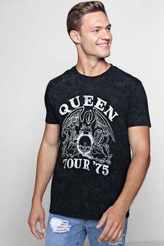 46d3441aff2 Queen Tour 75 License Acid Wash T-Shirt