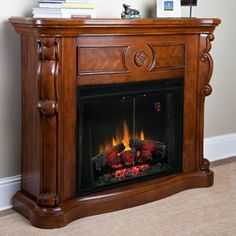"Kensington 33"" Pecan Cherry Electric Fireplace Cabinet Mantel Package http://www.electricfireplacesdirect.com/products-accessories/electric-fireplace-mantel-packages/Kensington-33-Pecan-Cherry-Electric-Fireplace-Cabinet-Mantel-Package"