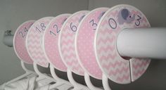 Pink Elephant 6 custom baby closet dividers closet by digitaldoodlebug on Etsy