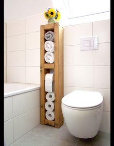 """**Toilettenpapierhalter, Handtuchhalter, Mehrzweckhalter """"TOWER"""" H/B/T 110x25x14cm, Massivholz natur, unbehandelt! Du kannst das Holz einfach durch deine Wunschlasur noch farblich anpassen.  N E..."""