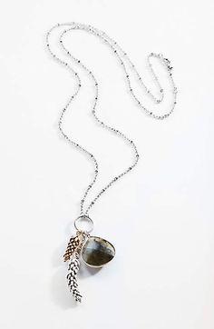 Delicate Wheat and Labradorite Pendant Necklace | JJill