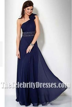 Elegant Navy Chiffon One Shoulder Formal Evening Dress Prom Gown With Flower Best Prom Dresses, Beautiful Prom Dresses, Special Dresses, Prom Dresses Blue, Formal Evening Dresses, Nice Dresses, Dress Prom, Empire Bridesmaid Dresses, Bridesmaids