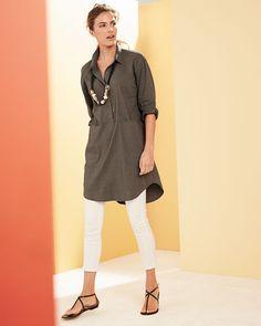 Eileen Fisher Linen Viscose Stretch Shirtdress