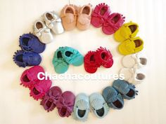 100% genuine leather baby moccasins Mocs moccs by ChaChaCoutures