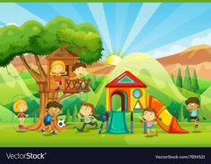 Children playing at the playground Royalty Free Vector Image Boy Pictures, Free Pictures, Spot The Difference Kids, Playground Pictures, International Children's Day, Park Playground, Pet Mice, Early Reading, World Photography